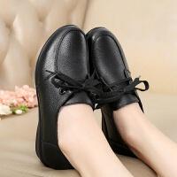 妈妈鞋单鞋真皮夏季舒适软底坡跟防滑软皮中老年皮鞋黑色女工作鞋 黑色单里