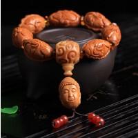 油性橄榄核橄榄胡精品雕刻双鱼佛珠手串年年有余岁岁平安