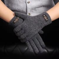 触屏男士手套冬季加厚保暖韩版开车骑行车中老年黑色五指针织毛线
