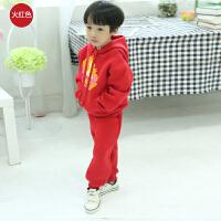 新款童装舒适韩版加厚套装套头卫衣卫裤加绒宽松运动套装