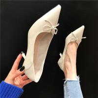 细跟高跟鞋女尖头浅口蝴蝶结细跟高跟鞋韩版时尚百搭通勤优雅单鞋