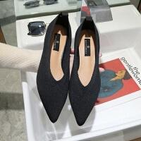 韩版2019春季浅口尖头百搭透气飞织布粗跟单鞋女奶奶鞋中跟工作鞋