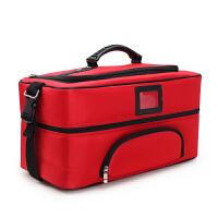 大号化妆箱包多层大容量手提跟妆收纳包美甲纹绣工具箱便捷 玫红色