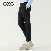 GXG男装 秋季男士时尚青年帅气韩版流行黑色九分裤休闲裤字母刺绣