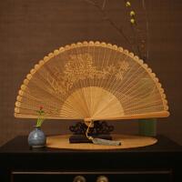 吉善扇 女士折扇檀香扇全竹扇出国礼品扇镂空中国风香木扇女式