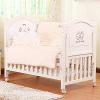 豪华欧式婴儿床实木白色环保童床 BB宝宝床多功能带储物仓