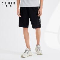 森马休闲短裤男士2021夏季新款时尚撞色裤子舒适弹力运动裤青少年
