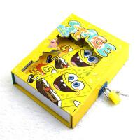 海绵宝宝日记本子 52张小学生记事本抄写本创意儿童带锁笔记本