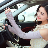 蕾丝绣花手套开车防滑紫外线女薄长款遮阳户外骑行袖套手臂套
