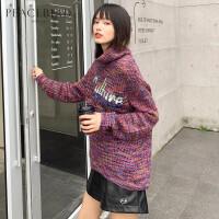 慵懒风宽松镂空毛衣女2019春装新款紫色高领亮片毛针织衫太平鸟女