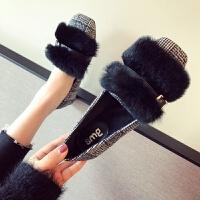 欧美风时尚2018秋冬季新款女鞋大码方头平跟平底加绒保暖毛毛单鞋