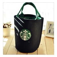 帆布袋单肩手提布包时尚便当袋饭盒袋 圆桶黑色(无挂饰)