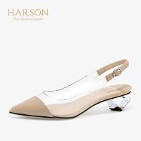 【秋冬新款 限时1折起】哈森夏季通勤牛皮革一字带尖头凉鞋