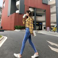 卡贝琳女2019新款秋装弹力小脚裤子女学生韩版浅蓝色牛仔裤高腰显瘦铅笔裤