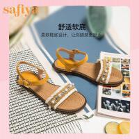 【券后价:219元】SAFIYA2020夏季新民族风一字带串珠时装凉鞋女SF02115052