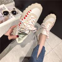 运动鞋女2019春季新款厚底百搭运动鞋女韩版真皮拼色学生休闲鞋潮