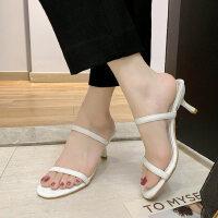 户外仙女风时尚百搭细跟高跟鞋凉鞋外穿一字凉拖鞋潮