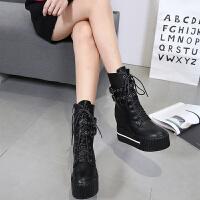 2018秋冬季新品厚底中筒靴英伦风短靴女内增高靴子马丁靴女靴