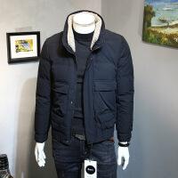 冬季短款羽绒服男士韩版修身羊羔毛领白鸭绒男式立领羽绒衣外男装