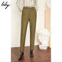 【5/26-6/1 一口价:159元】 Lily春女装洋气芥末绿修身烟管小脚休闲裤119140C5236