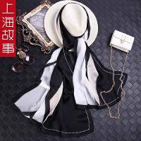 上海故事100%桑蚕丝乔其缎新款夏季薄款围巾女秋冬季围脖披肩丝巾