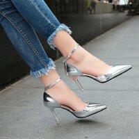 高跟鞋女细跟公主百搭一字扣带银色性感韩版9cm夏季婚鞋优雅单鞋