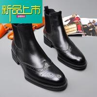 新品上市18新款潮男短靴男士皮靴短靴真皮雕花马丁靴时尚厚底男靴
