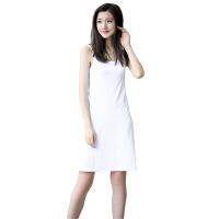 中长款吊带背心打底裙宽松大码内搭防透内衬裙女白色连衣裙夏