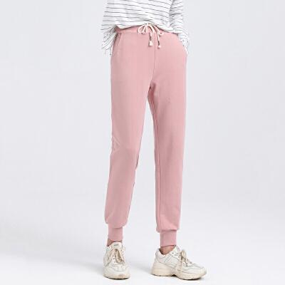 春秋薄款运动裤女学生小脚宽松显瘦长裤粉色束脚收口百搭纯棉卫裤