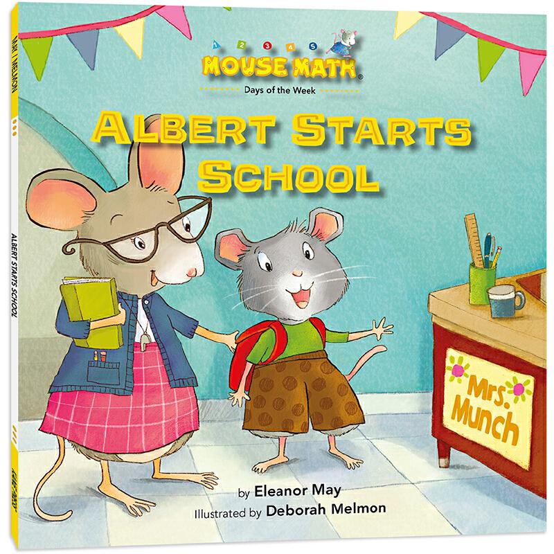 鼠小弟爱数学:阿宝开学了 Mouse Math : Albert Starts School 英语原版绘本,数学启蒙绘本,美国《出版人周刊》《学校图书馆杂志》、大学数学教授高度评价,把数学概念融入有趣故事,让孩子轻松愉快学数学,为小学数学打基础,积累生活及数学相关英语词汇