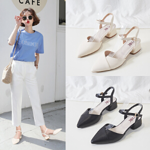 ZHR2019夏季新款奶奶鞋中跟复古方头女鞋包头凉鞋女夏粗跟高跟鞋