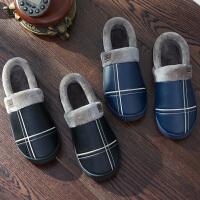 毛毛棉拖鞋男冬季全包跟皮防水女情侣室内外家居家保暖防滑厚底秋