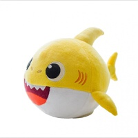 鲨鱼的宝宝宠物 电动会发光鲨鱼宝宝毛绒玩具baby宝宝玩偶公仔电子宠物玩具 黄色升级款发光会唱几十首歌 多功能款 标配