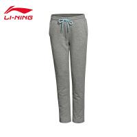 李宁卫裤女士2017新款运动生活系列长裤针织平口运动裤AKLL116