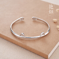 925非老凤祥纯银手镯女 韩版创意可爱小猫耳朵开口手环简约银镯子生日礼物 猫咪手镯