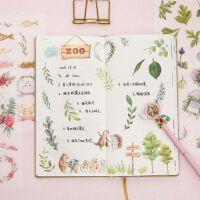 满18元包邮可爱花鸟动物贴纸组合透明手帐DIY相册手机创意文具卡通贴纸