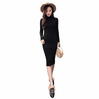 新年特惠2019韩版修身半高领针织连衣裙中长款女秋冬长袖显瘦包臀毛衣裙潮