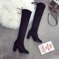 过膝靴女长筒靴2019秋冬新款瘦瘦靴高跟粗跟英伦风长靴弹力女靴子
