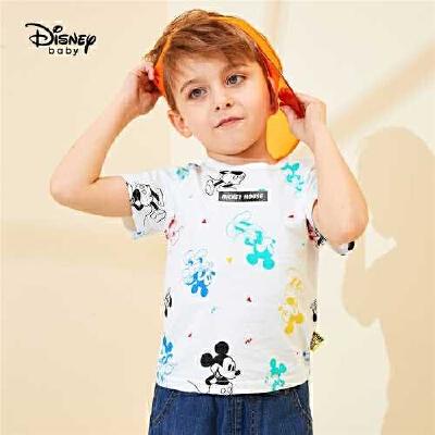 【2件3折价:32.7元,可叠券】迪士尼童装2020夏装新款儿童卡通米奇短袖T恤男宝宝纯棉上衣 迪士尼正品童装!
