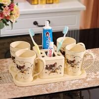 欧式陶瓷漱口杯套装带托盘浴室洗漱五件四口之家刷牙杯情侣牙刷杯