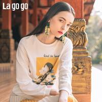 【清仓5折价134】Lagogo/拉谷谷2019年春季新款百搭款时尚白色卫衣女IAEE411C03