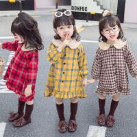 女宝宝格子连衣裙春秋装新款1-2-3-4-5-6岁女童长袖连衣裙子