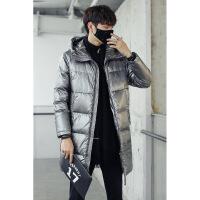 羽绒服男士2019新款中长款冬季潮流情侣装连帽漆亮面外套