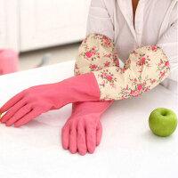 家务手套 乳胶清洁手套 轻便束口花袖手套单层大红色