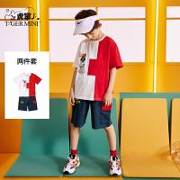 【2件3折:68.7元】小虎宝儿男童夏季短袖套装2021新款儿童纯棉T恤中大童洋气