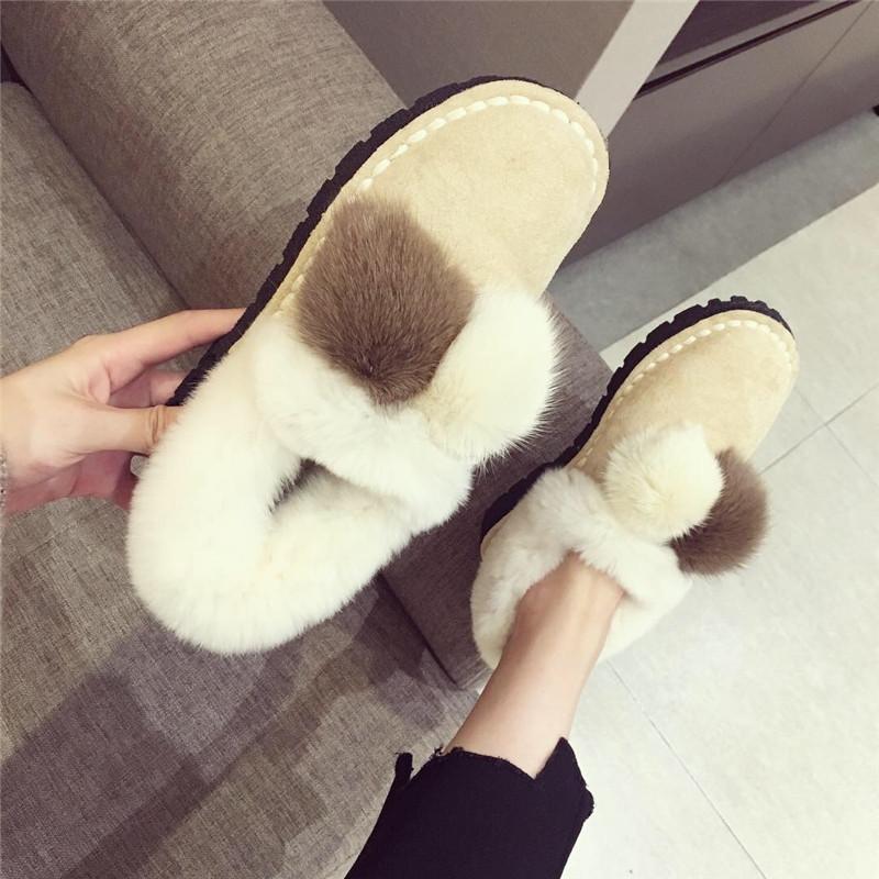 雪地靴女2018秋冬新款时尚圆头绒面兔毛围边貂毛球球可爱休闲棉靴