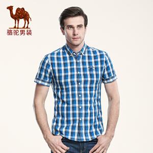 骆驼男装 夏款新品格子青年日常休闲修身短袖上衣衬衫男 衬衣男士