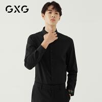 GXG男装 秋季时尚韩版青年个性刺绣黑色休闲长袖衬衫男