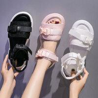 新款白色运动凉鞋女 时尚休闲学生鞋潮凉鞋女 韩版百搭平底女士沙滩鞋厚底