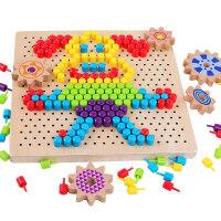 小孩子玩具 �和�拼�D益智玩具4-6�q�M合拼插蘑菇�木制2-3周�q����智力玩具 生日�Y物